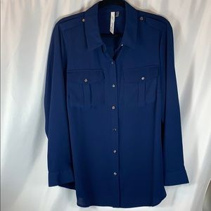 NY Collection Blue Button Down Top